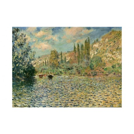 "CLAUDE MONET ""Seine At Vetheuil"" print ON CANVAS choose SIZE, from 55cm up, NEW"