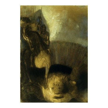"ODILON REDON ""Saint Georges"" HAUNTING knight horse dragon slay nightmare CANVAS"