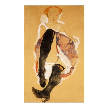 EGON SCHIELE Seated Woman With Black Stockings SEDUCTIVE bloomers CANVAS PRINT