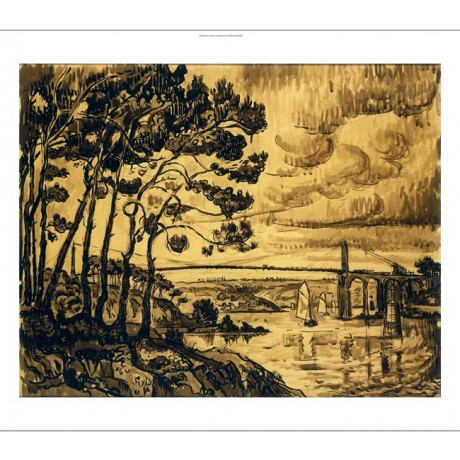"SIGNAC ""Le Pont De Lezardrieux"" WINDSWEPT engineering sky sailing boat CANVAS"