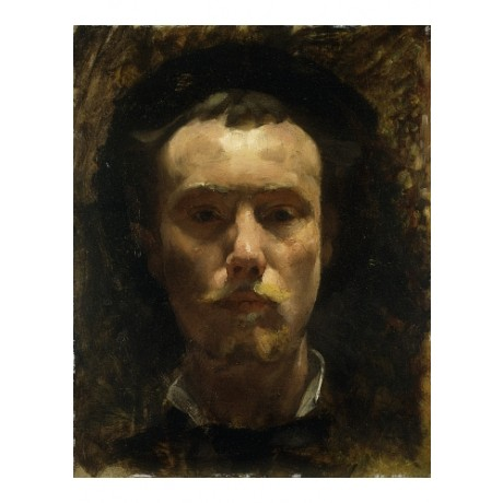 "CROSS ""Auto-Portrait"" LIFELIKE serious expression moustache self CANVAS PRINT"