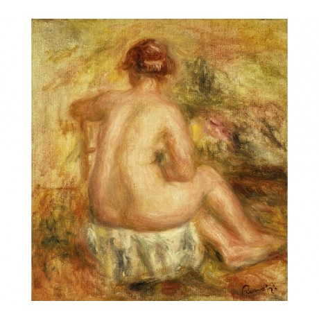 "RENOIR ""Seated Female Nude View Behind"" HUMAN BODY young hair up CANVAS PRINT"