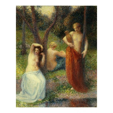 "PETITJEAN ""Three Graces"" BREAST brushing hair riverbank watercarrier NEW CANVAS"
