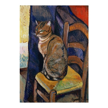 SUZANNE VALADON Cat Sitting On Chair WHISKERS blue curtain gossip CANVAS PRINT