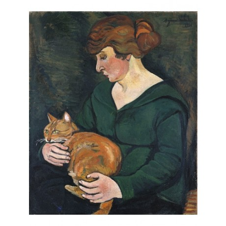 "SUZANNE VALADON ""Louson Et Raminow"" CAT ginger redhead woman CANVAS PRINT giclee"