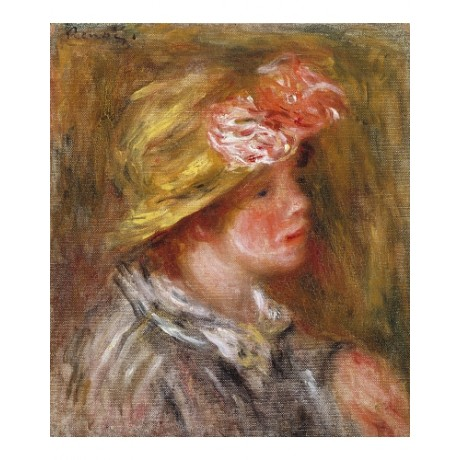 "PIERRE AUGUSTE RENOIR ""Young Woman In Flower Hat"" PRINT various SIZES, BRAND NEW"
