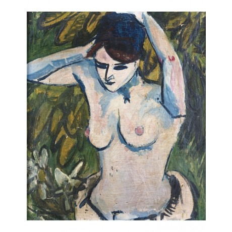 "ERNST LUDWIG KIRCHNER ""Woman Raised Arms"" BREAST naked brunette CANVAS PRINT"