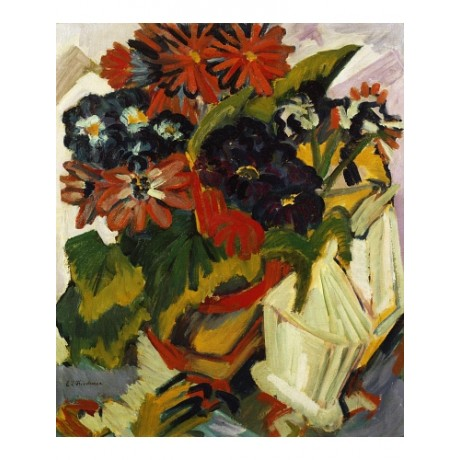 "ERNST LUDWIG KIRCHNER ""Flowerpot Sugarbowl"" FLOWERS vase red CANVAS PRINT giclee"