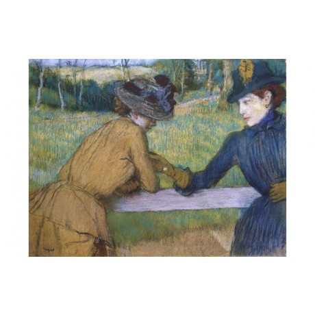 "EDGAR DEGAS ""Two Women Leaning On Fence Rail"" ON CANVAS various SIZES, BRAND NEW"