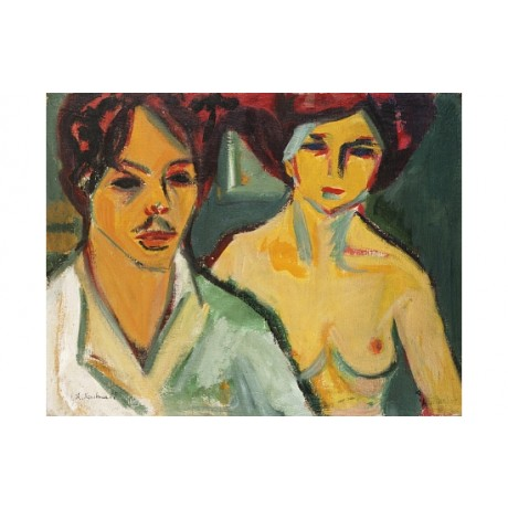 "ERNST LUDWIG KIRCHNER ""Self-Portrait With Model"" breast moustache CANVAS PRINT"
