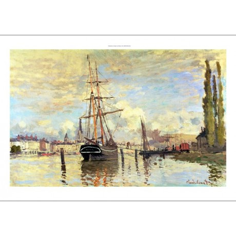 "CLAUDE MONET ""Seine At Rouen"" ship print ON CANVAS choose SIZE, from 55cm up"