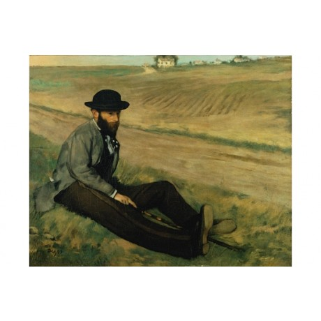 EDGAR DEGAS Eugene Manet ARTIST thinking ploughed field hat beard stick CANVAS