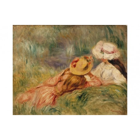 "PIERRE AUGUSTE RENOIR ""Young Girls By The Water"" CANVAS various SIZES, BRAND NEW"