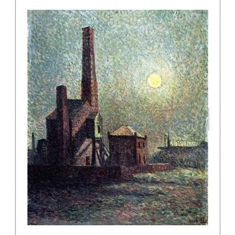 "MAXIMILIEN LUCE ""Machine by Moonlight"" FRENCH chimney moon factory CANVAS PRINT"