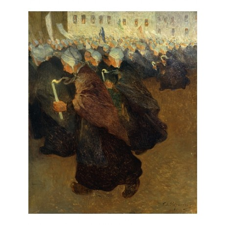 "PUIGAUDEAU ""Night Procession In Brittany"" CANDLELIGHT vigil mass CANVAS PRINT"