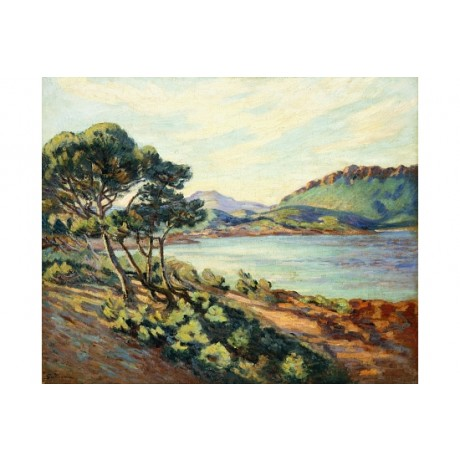 "GUILLAUMIN ""Baie d'Agay"" french RIVIERA windswept coastal tree hill bay CANVAS"
