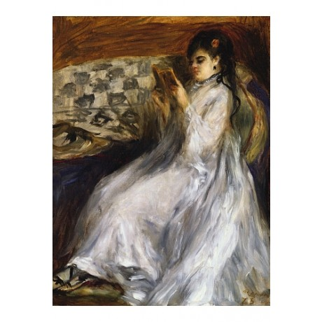 "PIERRE AUGUSTE RENOIR ""Woman In White Reading"" CANVAS! various SIZES, BRAND NEW"