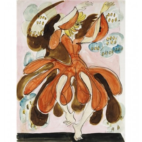 "Ernst Ludwig Kirchner ""The Dancer Palucca"" die tanzerin red dress performing"