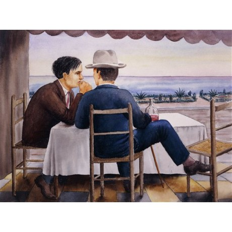 "Georg Schrimpf ""On the Terrace (Self-Portrait)"" conversation coastal view hat"