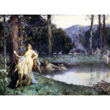 "JACQUES FERNAND HYMBERT ""Diana Bathing"" BEAUTY vanity mirror women CANVAS PRINT"