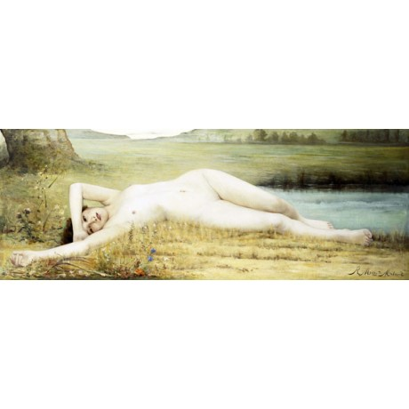 RENE MEGE DU MALMONT Cicada naked ABANDON grasshopper girl NEW CANVAS PRINT!!!