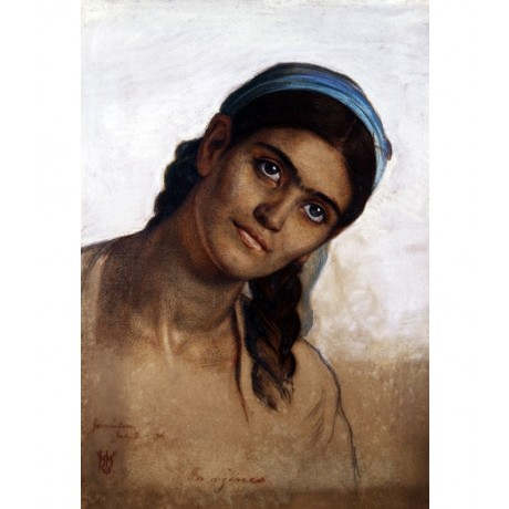 "WILLIAM HOLMAN HUNT ""Study of a Syrian Woman"" YOUNG blue plaited CANVAS PRINT"