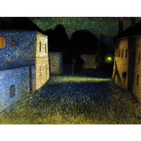 HIRSCHENHAUSER A Street Scene at Night DESERTED quiet light NEW CANVAS PRINT!!