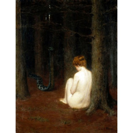 KARL PRIEM The Dream DANGER serpent scared naked woman woods NEW CANVAS PRINT!