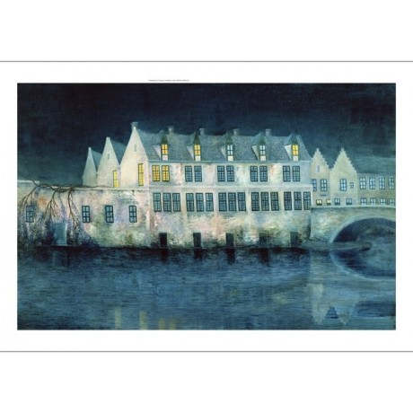 WILLIAM DEGOUVE DE NUNCQUES The Night in Bruges BLUE bridge river CANVAS PRINT