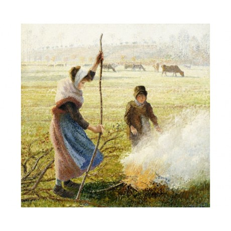 """CAMILLE PISSARRO """"Woman Breaking Up Wood"""" PRINT choose SIZE, from 55cm up, NEW"""