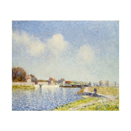 "ALFRED SISLY ""Saint-Mammes Weir"" Landscape ON CANVAS various SIZES available"