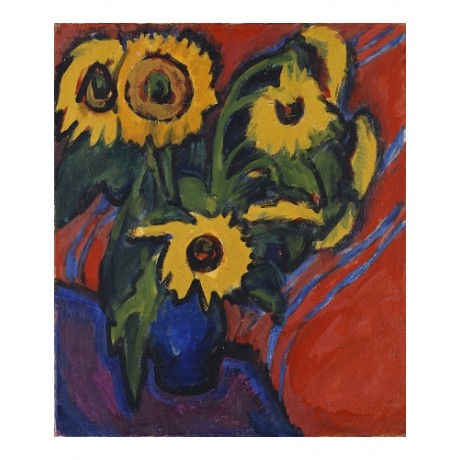 ERNST KIRCHNER Sunflowers vase BLUE yellow flowers modern red NEW CANVAS PRINT