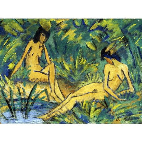"OTTO MUELLER ""Seated Women by Water"" bank BREAST friendship seclusion PRINT"