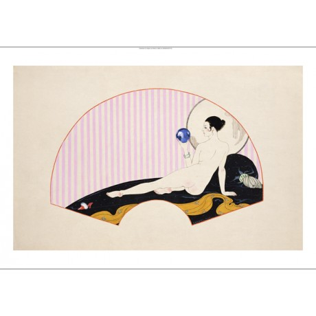 "GEORGES BARBIER ""Odalisque With A Crystal Ball"" nude various SIZES available"