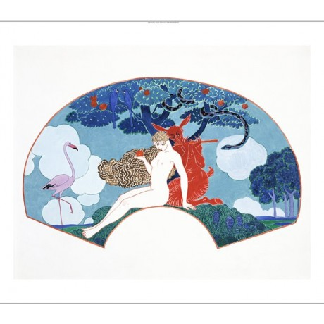 "GEORGES BARBIER ""Eve"" nude Woman print ON CANVAS choose SIZE, from 55cm up, NEW"