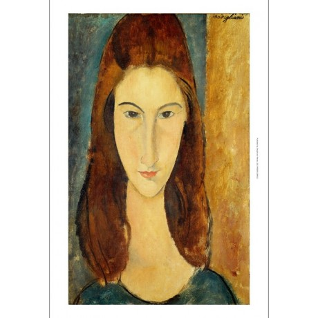 "MODIGLIANI ""Jeanne Hebuterne"" GAZE stare brunette woman portrait CANVAS PRINT"