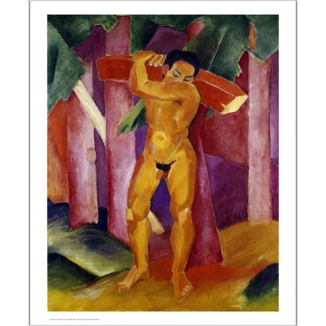 "FRANZ MARC ""Tree Porter"" Male Nude ON CANVAS choose SIZE, from 55cm upwards, NEW"