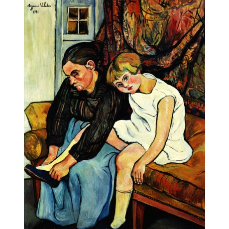 SUZANNE VALADON Grandmere chaussant une Fillette GRANDMOTHER shoe CANVAS PRINT