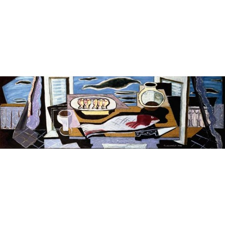 LOUIS MARCOUSSIS Still Life COASTAL seafood fish sea shutters NEW CANVAS PRINT