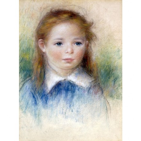 "RENOIR ""Portrait of a Girl"" childhood INNOCENCE blue eyes blonde CANVAS PRINT"