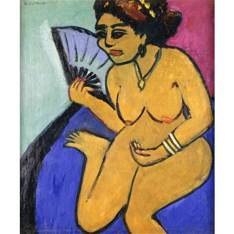 Ernst Ludwig Kirchner Seated Nude with Fan naked woman nude with fan ON CANVAS