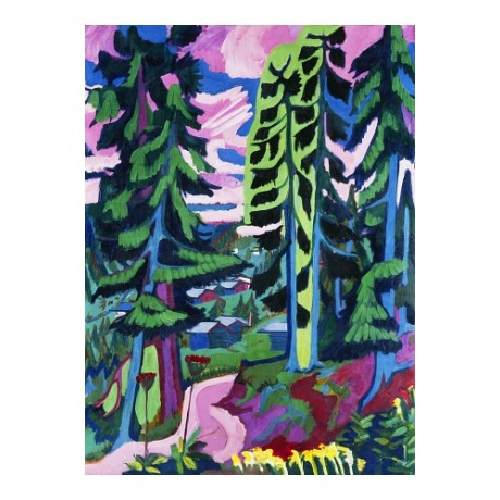 "KIRCHNER ""Wildboden"" forest PURPLE pine trees path modern CANVAS PRINT BRAND NEW"