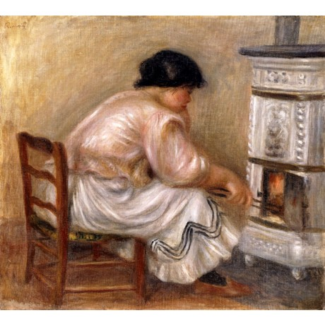 PIERRE AUGUSTE RENOIR Woman at the Corner of the Stove WARMTH tongs NEW PRINT!