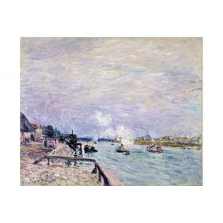 """ALFRED SISLY """"Seine At Grenelle"""" print ON CANVAS choose SIZE, from 55cm up, NEW"""