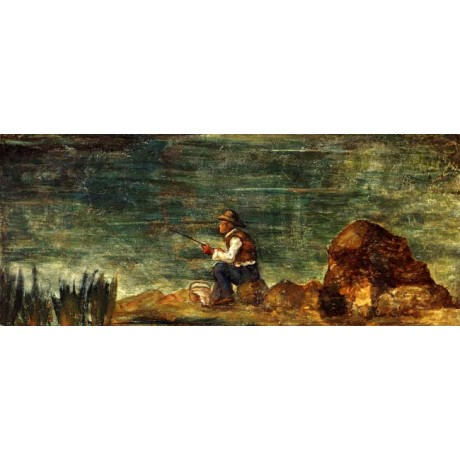 "PAUL CEZANNE ""Fisherman on the Rock"" PATIENCE calm river rod rock CANVAS PRINT"