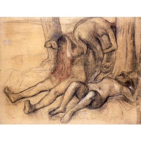 "EDGAR DEGAS ""Bathers (Women at their Toilette)"" NAKED breast combing hair NEW!!"