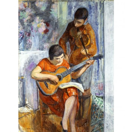 HENRI LEBASQUE The Musicians SHARING sheet music violin boy girl CANVAS PRINT!