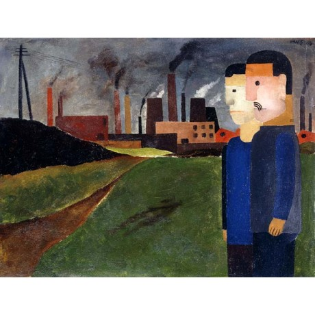 "FRANZ WILHELM SEIWERT ""Industrial Landscape and Workers"" chimney CANVAS PRINT"