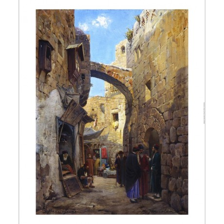 GUSTAV BAURENFEIND Streetscene In Jerusalem NEW canvas! various SIZES, BRAND NEW