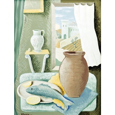 RENATO PARESCE Still Life with Fish and Jug BLOWING breeze pottery NEW PRINT!!